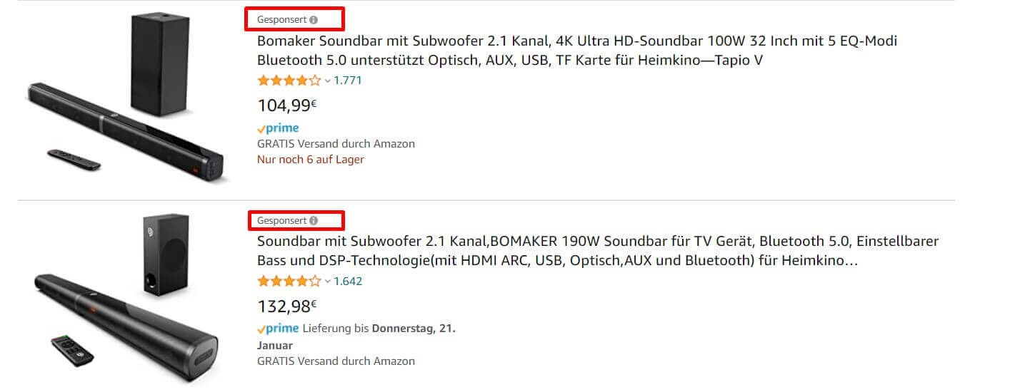amazon sponsored product ads in Duitsland